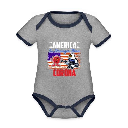 America against Corona - Baby Bio-Kurzarm-Kontrastbody