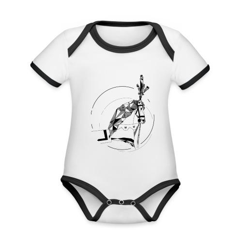 Ros Beiaard - Dendermonde - Baby contrasterend bio-rompertje met korte mouwen