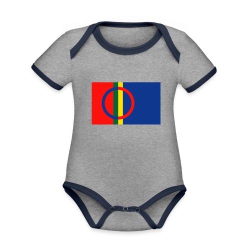 Samiska flaggan - Ekologisk kontrastfärgad kortärmad babybody