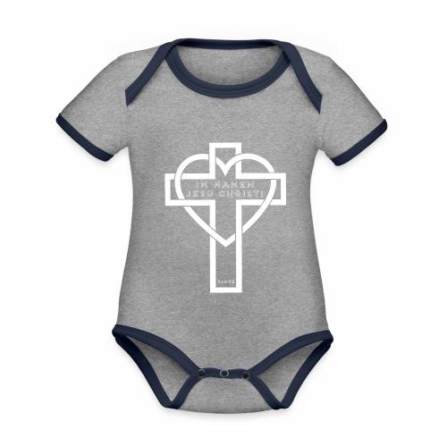 Im Namen JESU CHRISTI - weiß - Baby Bio-Kurzarm-Kontrastbody