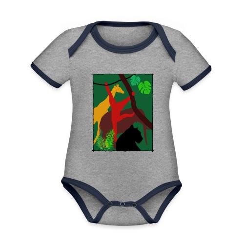 Dschungel - Panther-Affe-Elefant-Giraffe - Baby Bio-Kurzarm-Kontrastbody