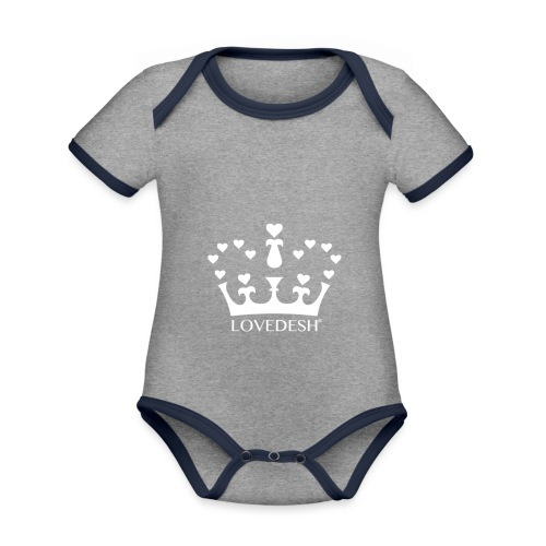 White Lovedesh Crown, Ethical Luxury - With Heart - Organic Baby Contrasting Bodysuit
