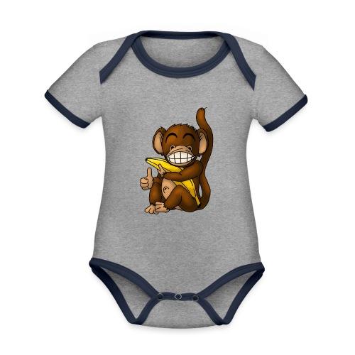 Super Fröhlicher Affe - Baby Bio-Kurzarm-Kontrastbody