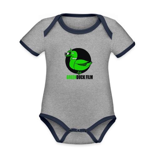 Greenduck Film Logo w. black letters - Kortærmet økologisk babybody i kontrastfarver
