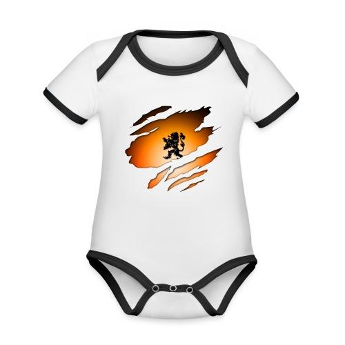 Dutch Inside: Leeuw - Baby contrasterend bio-rompertje met korte mouwen