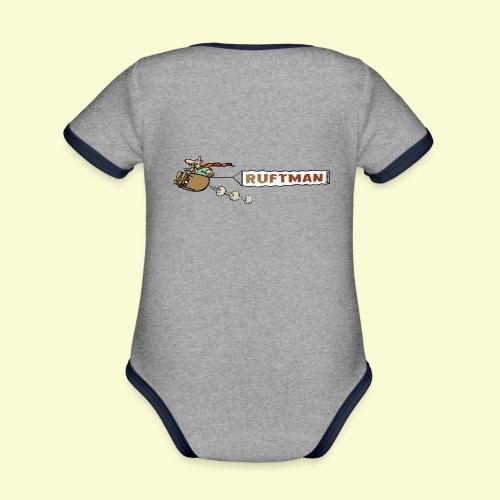 DIRKJAN Rruftman - Baby contrasterend bio-rompertje met korte mouwen
