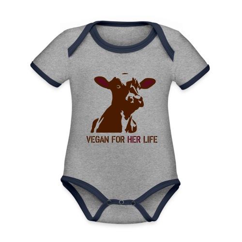 vegan for her life - Baby Bio-Kurzarm-Kontrastbody