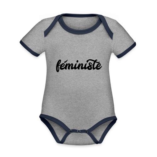 féministe - Body Bébé bio contrasté manches courtes