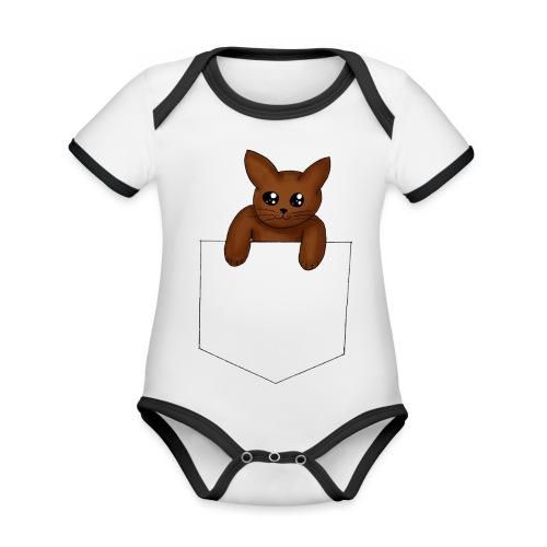 Kat in borstzak | Vrouwen T-Shirt - Baby contrasterend bio-rompertje met korte mouwen