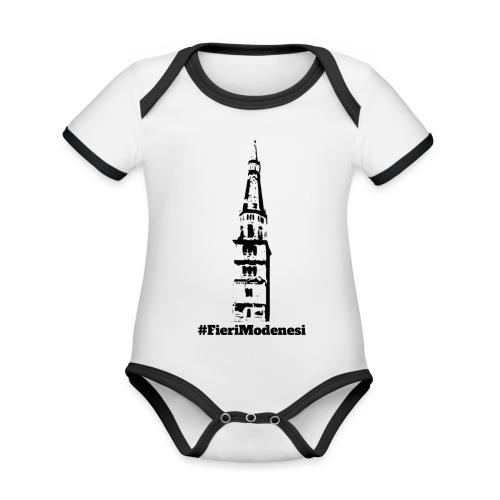 #FieriModenesi - Body da neonato a manica corta, ecologico e in contrasto cromatico