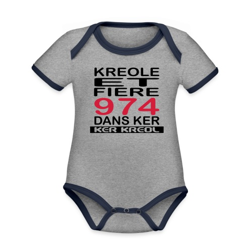 Kreole et Fiere - 974 ker kreol - Body Bébé bio contrasté manches courtes
