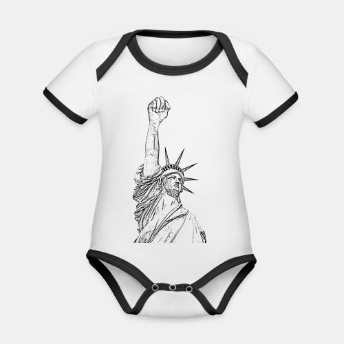 Statue of Liberty, fist held high - Body contraste para bebé de tejido orgánico