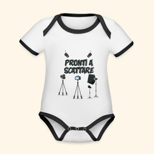 pronti a scattare - Body da neonato a manica corta, ecologico e in contrasto cromatico