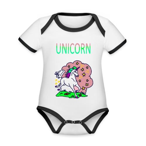 Einhorn unicorn - Baby Bio-Kurzarm-Kontrastbody