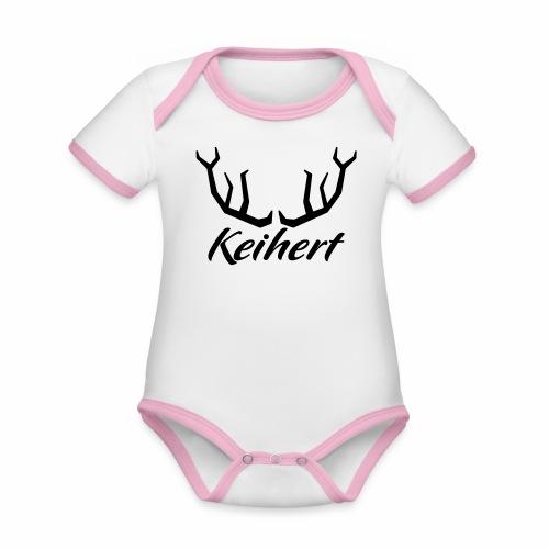Keihert gaan - Baby contrasterend bio-rompertje met korte mouwen