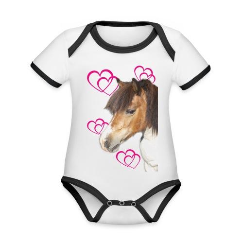Hästälskare (Bella) - Ekologisk kontrastfärgad kortärmad babybody