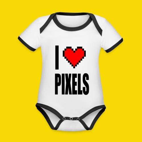 I Love Pixels - Ekologiczne body niemowlęce z krótkim rękawem i kontrastowymi lamówkami