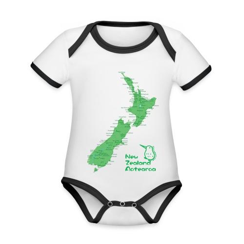 New Zealand's Map - Organic Baby Contrasting Bodysuit