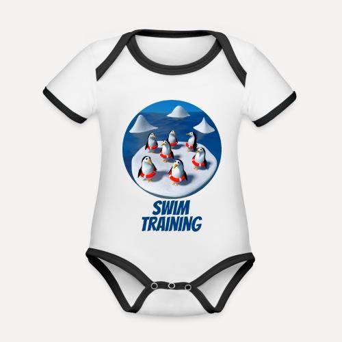 Pinguine beim Schwimmunterricht - Organic Baby Contrasting Bodysuit