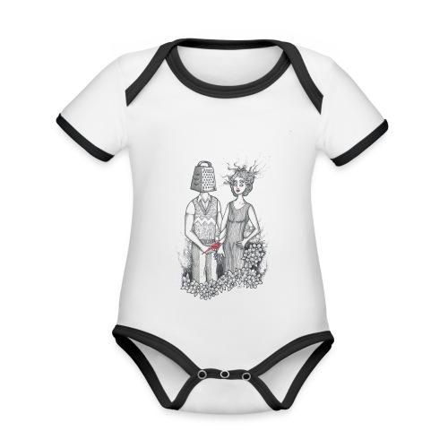 Kärleksfågel - Ekologisk kontrastfärgad kortärmad babybody