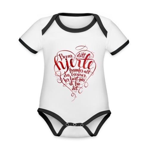 Bevar ditt hjerte - Økologisk kortermet kontrast-babybody
