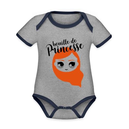 Bouille de princesse (couleurs personnalisables) - Body Bébé bio contrasté manches courtes
