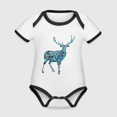 Blue deer - Organic Baby Contrasting Bodysuit