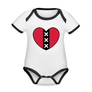Hart met het symbool van de stad Amsterdam - Baby contrasterend bio-rompertje met korte mouwen