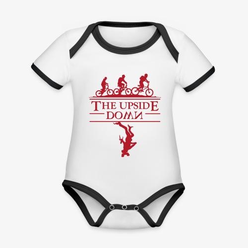 upside down - Ekologiczne body niemowlęce z krótkim rękawem i kontrastowymi lamówkami
