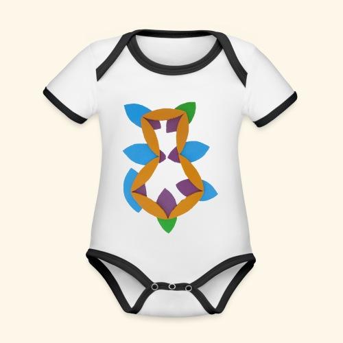 oranjeblanjebleu - Baby contrasterend bio-rompertje met korte mouwen