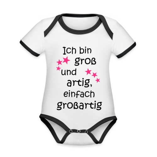 Ich bin gross und artig = großartig pink - Baby Bio-Kurzarm-Kontrastbody