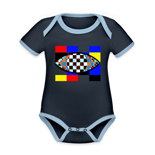 eye with squares in strong colors - Organic Baby Contrasting Bodysuit