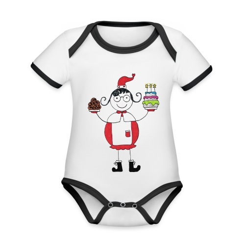 Mamma Natale di Nonna Catia - Body da neonato a manica corta, ecologico e in contrasto cromatico