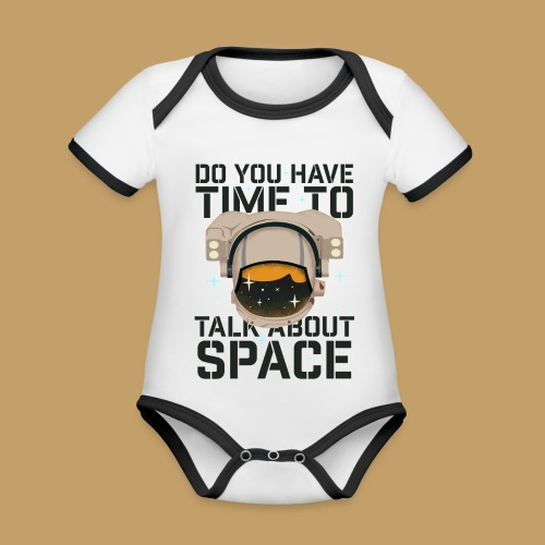 Time for Space - Ekologiczne body niemowlęce z krótkim rękawem i kontrastowymi lamówkami