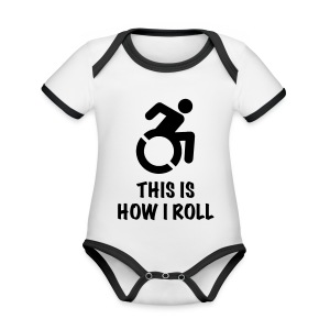 howiroll - Baby contrasterend bio-rompertje met korte mouwen