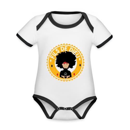 Fils de Dieu jaune - Body Bébé bio contrasté manches courtes