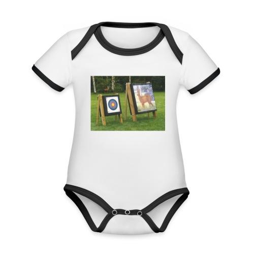 7EE4ABA5 03CC 4458 8D34 B019DF4DD5F1 - Økologisk kortermet kontrast-babybody