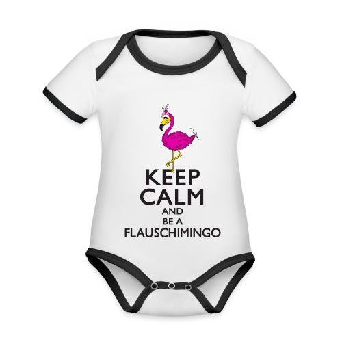 Keep calm and be a Flauschimingo - Baby Bio-Kurzarm-Kontrastbody