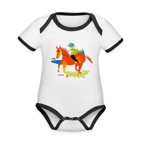 cheval dousig - Body Bébé bio contrasté manches courtes