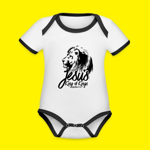 JESUS - KING OF KINGS - Revelations 19:16 - LION - Organic Baby Contrasting Bodysuit
