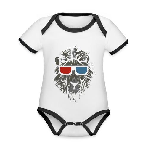 Lion 3D - Ekologisk kontrastfärgad kortärmad babybody