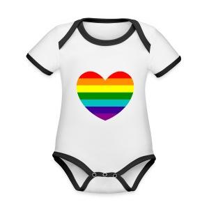 Hart in regenboog kleuren - Baby contrasterend bio-rompertje met korte mouwen