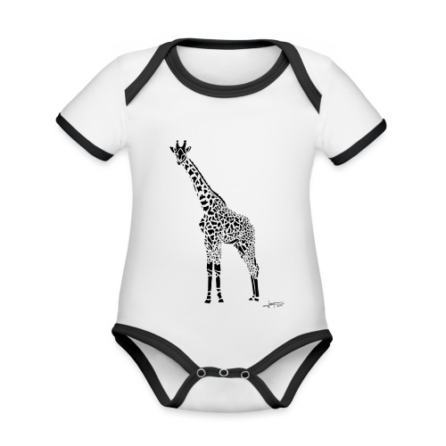 Black Girafe By Joaquín - Body Bébé bio contrasté manches courtes
