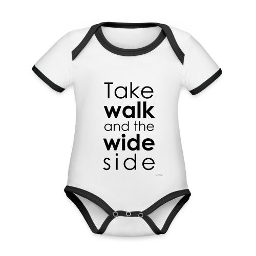 LOU-REDD-walk-black - Body Bébé bio contrasté manches courtes