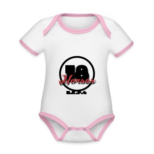 18 Horses - NKPG (Black) - Ekologisk kontrastfärgad kortärmad babybody