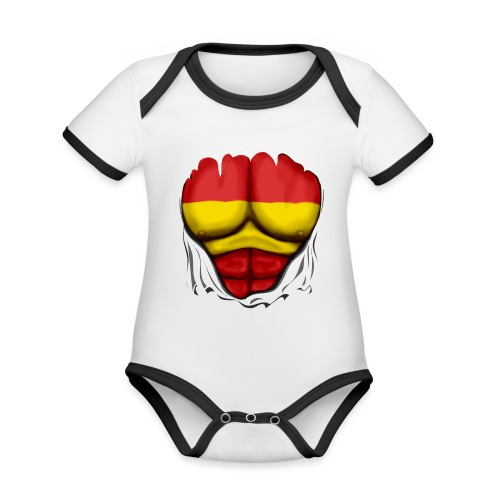 España Flag Ripped Muscles six pack chest t-shirt - Organic Baby Contrasting Bodysuit
