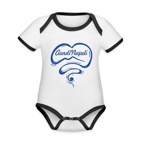 New Logo CuordiNapoli Blu - Body da neonato a manica corta, ecologico e in contrasto cromatico
