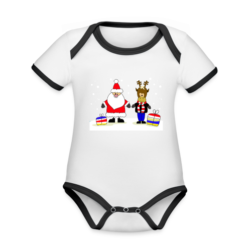 Christmas Collection - Økologisk kortermet kontrast-babybody