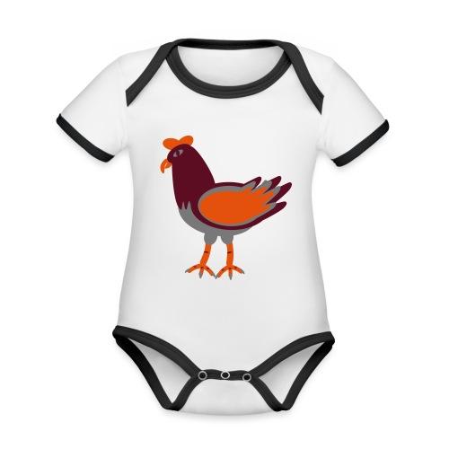 Cock.svg - Body da neonato a manica corta, ecologico e in contrasto cromatico