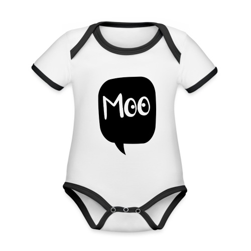 bubble moo white design - Organic Baby Contrasting Bodysuit